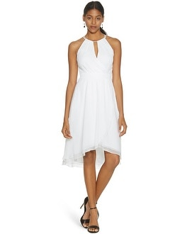 Sleeveless Fit and Flare Soft Wrap White Dress
