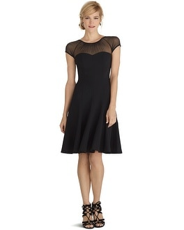 Illusion Neck Trumpet Black Dress