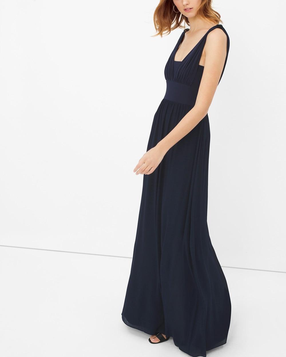 Genius Chiffon Convertible Navy Gown - White House Black Market