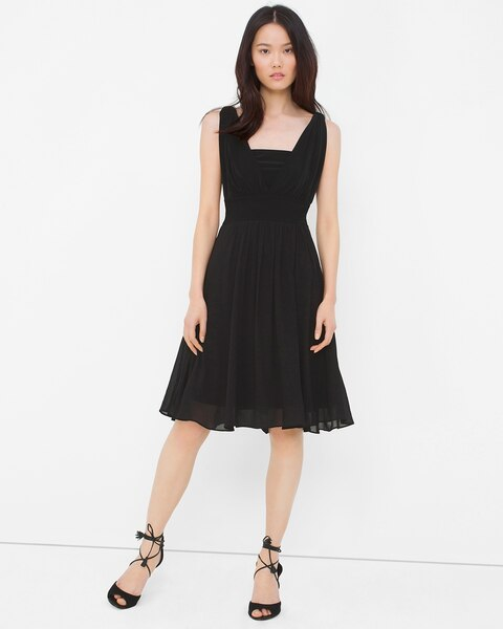 Genius Chiffon Convertible Black Dress - White House Black Market