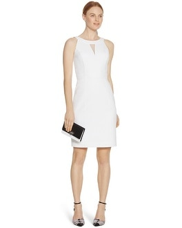Sleeveless Organza White Sheath Dress