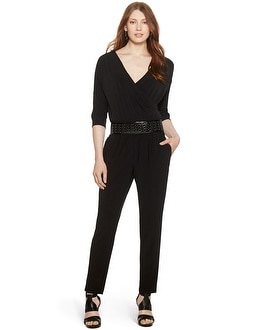 Dolman Sleeve Surplice Black Jumpsuit