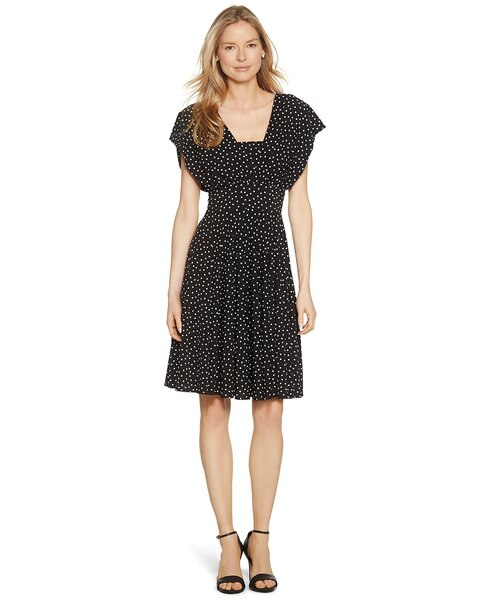 8e3b9534a56 Genius Convertible Fit and Flare Polka Dot Dress - White House Black Market