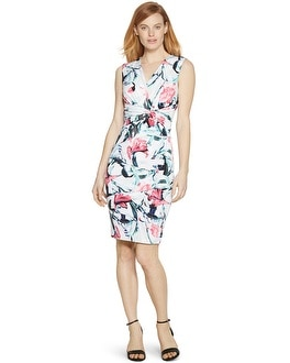 Sleeveless Surplice Floral Tiered Instantly Slimming Dress