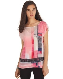 Short Sleeve Colorblock Double-Layer Top