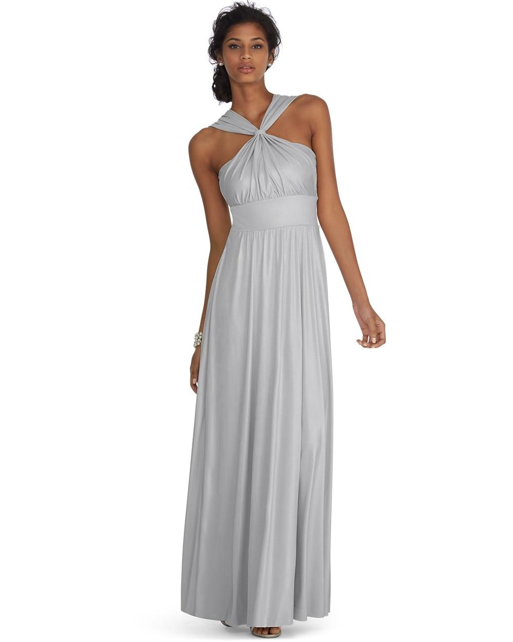 Genius Metallic Convertible Silver Gown - White House Black Market