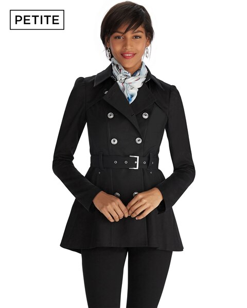 Petite Black Short Trench Coat - WHBM