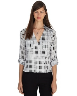 Roll Sleeve Plaid Surplice Blouse