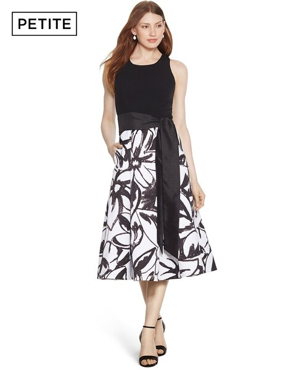 484f9e18a7d9 Petite Halter Black and White Print Midi Dress - White House Black Market