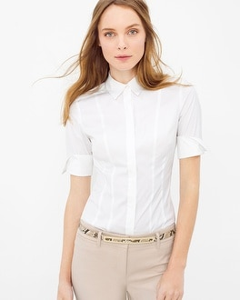 Elbow Sleeve Poplin Shirt
