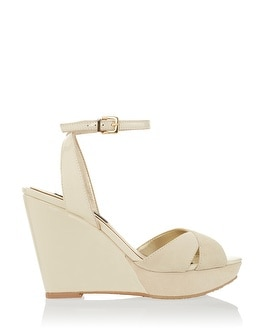 Neutral Leather Criss Cross Wedges