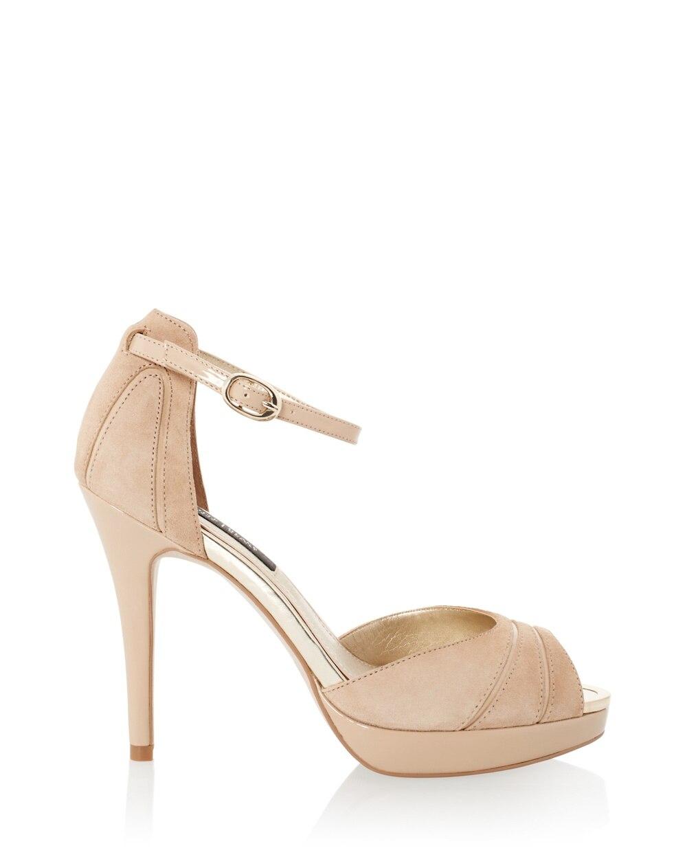black peep toe ankle strap heels
