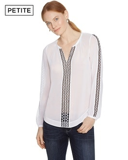 Petite Embroidered Trim Blouse