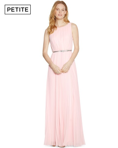 White House Petite Sleeveless Pleated Pink Maxi Dress