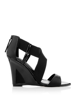 Black Leather Cross Strap Wedges