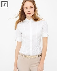 Petite Elbow Sleeve Poplin Shirt