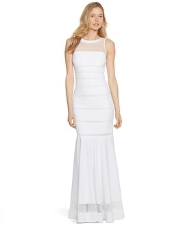 Sleeveless Shadow Stripe White Mermaid Gown
