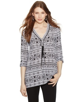 Long Sleeve Empire Printed Tunic Top