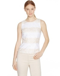 Sleeveless Colorblock Lace Shell Top