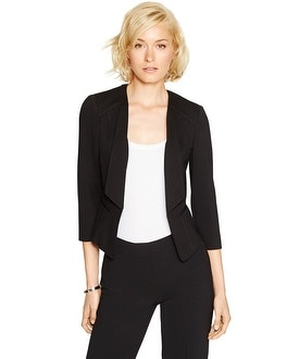 3/4 Sleeve Drape Lapel Knit Black Jacket