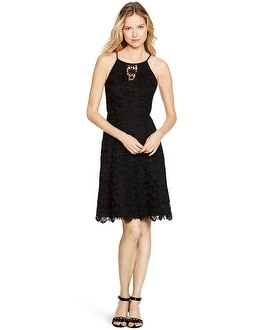 Sleeveless Lace Black Fit and Flare Dress