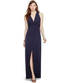 Sleeveless Crossback Knit Navy Gown
