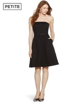 Petite Iconic Starlet Strapless Dot Black Fit and Flare Dress
