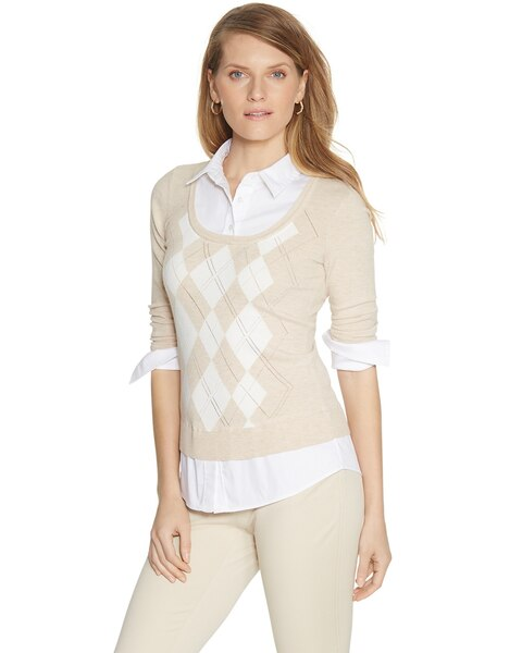 3/4 Sleeve V-Neck Two-Fer Argyle Pullover Blouse - WHBM