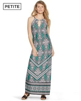Petite Sleeveless Blouson Geo Print Maxi Dress