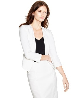 3/4 Sleeve Drape Lapel Knit White Jacket