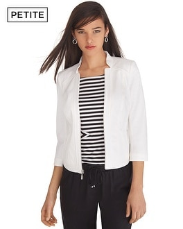 Petite 3/4 Sleeve White Premium Bi-Stretch Jacket