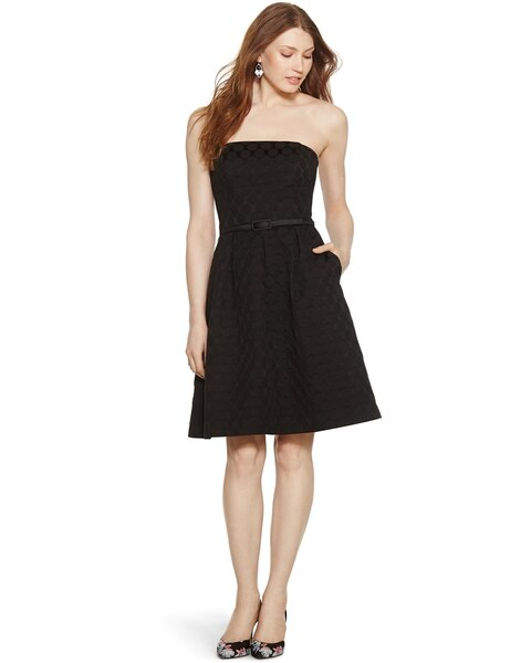 Iconic Starlet Strapless Dot Black Fit And Flare Dress White House