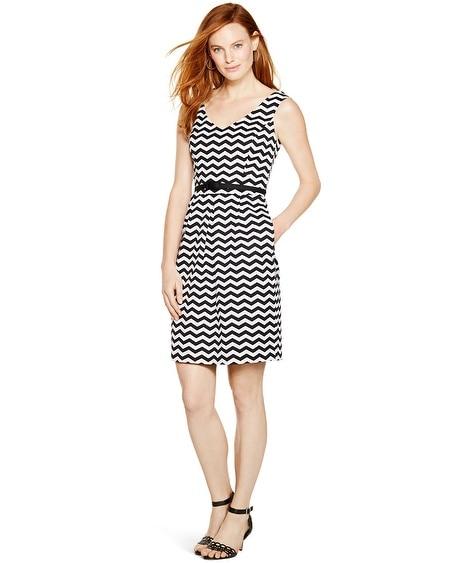 Cheap black and white chevron dress