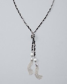 Ribbon Woven Tassel Necklace