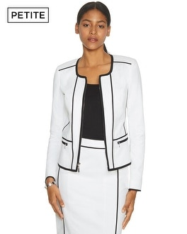 Petite The Piped Long Sleeve White and Black Jacket