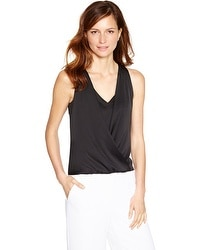 Sleeveless Surplice Black Layered Shell Top