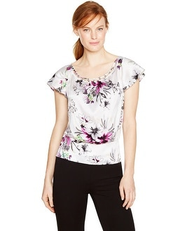 Flutter Sleeve Beaded Floral Blouson Silk Top