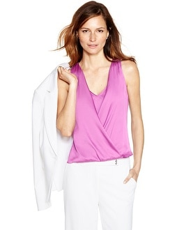 Sleeveless Layered Surplice Shell Top