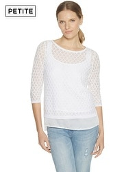 Petite 3/4 Sleeve Jacquard Diamond Stitch Pullover