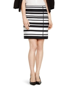 A-line Black and White Stripe Skirt
