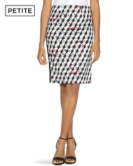 Petite Houndstooth Mixed Print Pencil Skirt