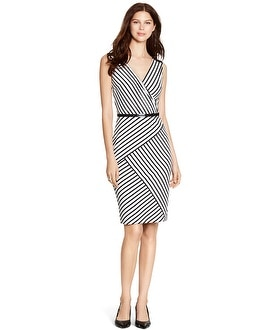 Sleeveless Stripe Surplice Sheath Dress