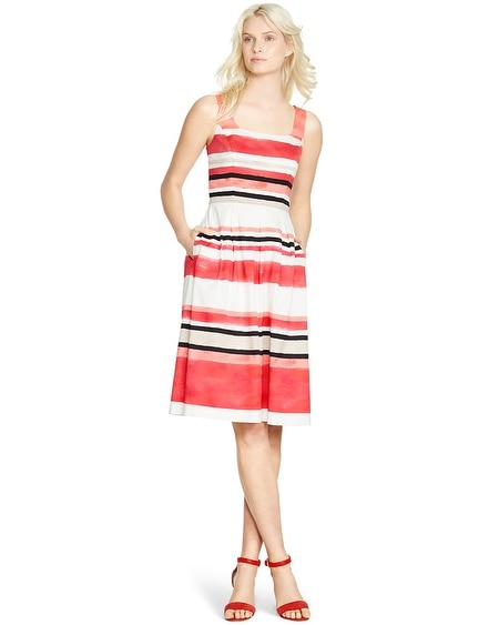Sleeveless Stripe Fit and Flare Dress