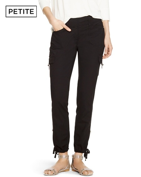 Petite Convertible Ankle to Crop Black Cargo Pants