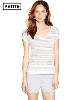 Petite Short Sleeve Stitchy V-Neck Pullover
