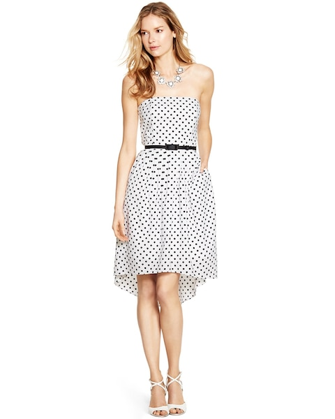 Strapless Polka Dot Fit And Flare Dress White House Black Market