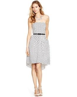 Strapless Polka Dot Fit and Flare Dress - White House Black Market