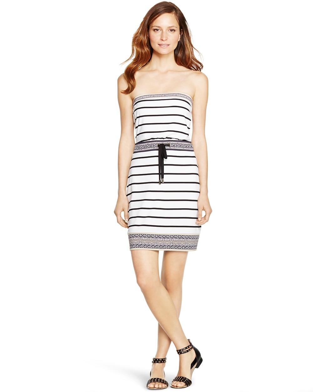 Strapless Stripe Blouson Short Dress White House Black Market