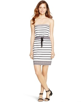 Strapless Stripe Blouson Short Dress
