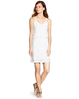 Sleeveless Studded Blouson White Short Dress